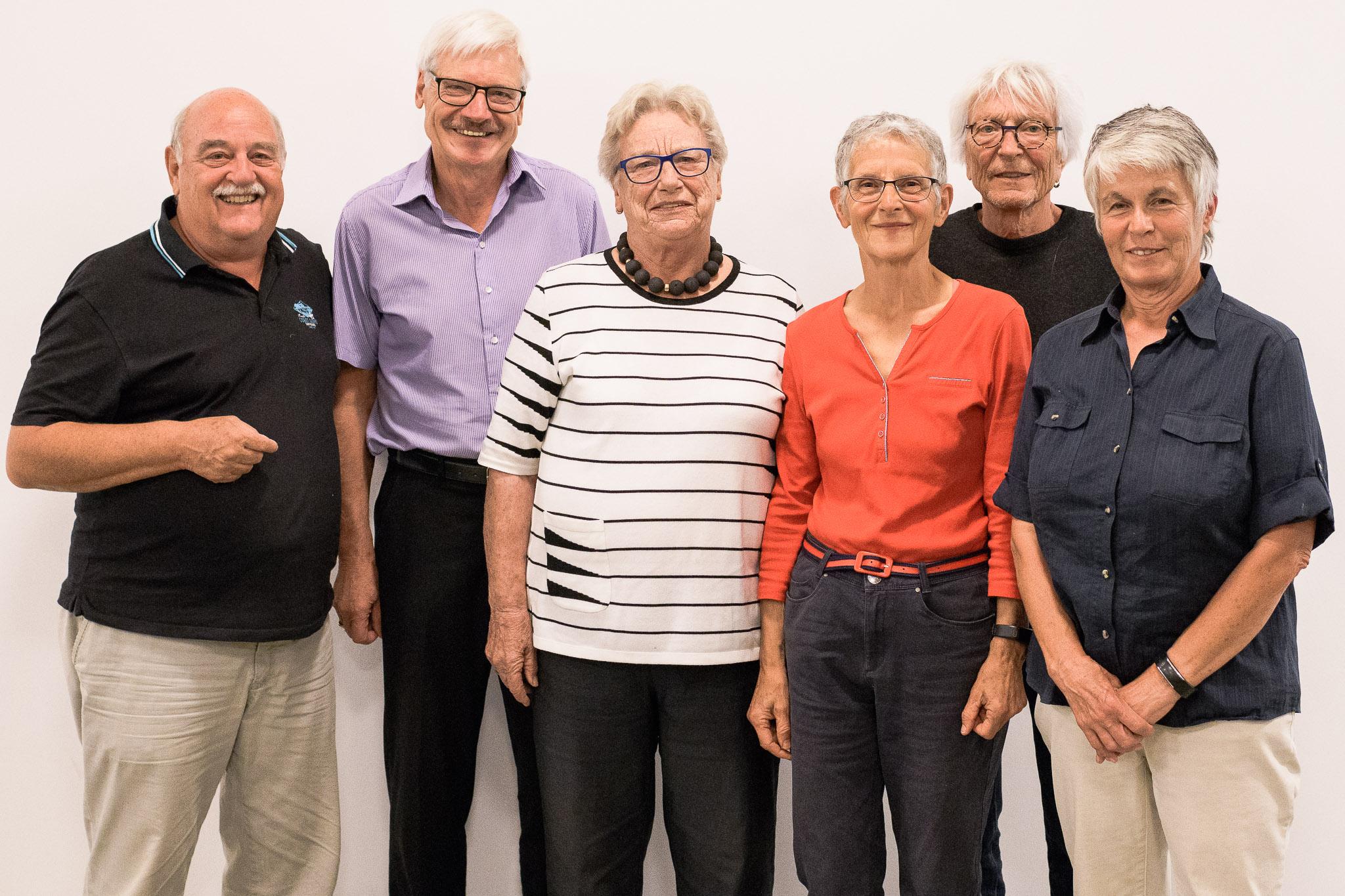 Der Gründungsvorstand von SP 60+ wurde an der Gründungsversammlung vom 17.10.2018 einstimmig gewählt. v.l.n.r. Marcel Huggenberger, Charly Suter, Sigrid Bürgi, Ruth Schmid, Hansjürg Rohner, Marie-Louise Nussbaumer.
